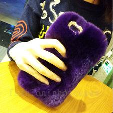 Girl's Luxury Bling Diamonds Soft Plush Fuzzy Rabbit Fur Back Phone Case Cover