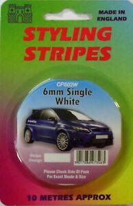 White 6mm x 10mtr Self Adhesive Car Pin Stripe Coach Tape Syling Stripe