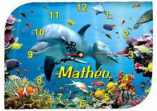 horloge pendule murale dauphin personnalisable texte prénom au choix réf F 49