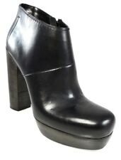NIB $895 CoSTUME NATIONAL LEATHER ANKLE BOOTS PLATFORM CHUNKY BLOCK HEELS 39 9