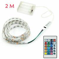 2m Batterie Betrieben 5050 RGB LED Stripe Mehrfarbige Licht Band Wasserdicht DE