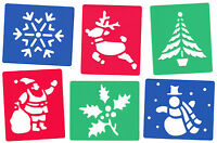 6 PIECE CHRISTMAS STENCIL SET FOR SNOW SPRAY SANTA SNOWMAN ANGEL TREE SLEIGH
