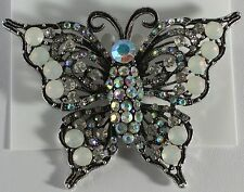 Silver Plate Butterfly Pin Brooch Opal Aurora Borealis Clear Crystal