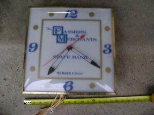 Vintage Pam Electric Advertisement Wall Clock Farmer Merchants State Bank Rare