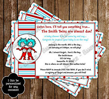 Dr Seuss - Thing One - Thing Two - Baby Shower Invitations - 15 Printed W/envelo