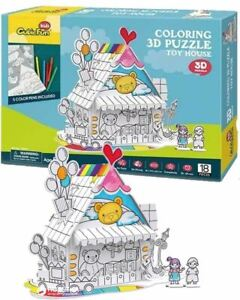 CubicFun 3D Colouring Puzzle - Toy House Cool Kids Fun Gift Colouring Pens