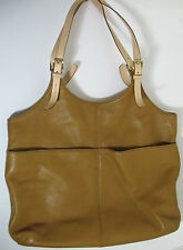 Micheal Kors Carmel Pebbled Leather Handbag 2 Large Outer Pockets Clean No Wear