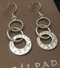 SILPADA W1616 'Triple Threat' Tri-Textured Sterling Silver Dangle Earrings~NIB
