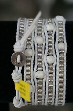 NEW Chan Luu Silver Etched Bead White Skull Leather 5 Wrap Bracelet