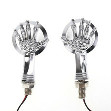 Chrome 3D Skull Skeleton LED Turn Signal Indicator Light For Harley Custom Parts