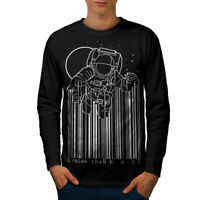 Wellcoda Space Astronaut Moon Geek Mens Long Sleeve T-shirt,  Graphic Design