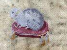 Vintage Small Needlepoint Needlework Cat Kitten Kitty on Cushion Wool Work