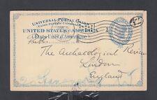 USA 1900 2C POSTAL STATIONERY CARD ORANGE NEW JERSEY FLAG CANCEL TO ENGLAND