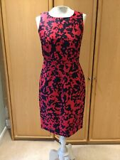 Hobbs Sz 10 Dress Red & Black Silk & Wool Occasion Party