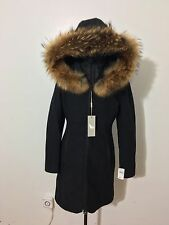 NWT Women's Soia & Kyo Charlene-F6 Asiatic Raccoon Fur Wool Coat, Medium, Black
