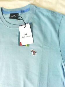 BNWT PS Paul Smith Zebra T-Shirt, Large L, Organic Cotton Light Blue Regular fit