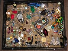 Vintage to Now Broken Junk Jewelry Lot For Crafts Some Wearable & Rhinestones