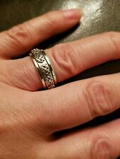 ANTIQUE STYLE 925 STERLING SILVER MENS ROLLING RING SIZE 9
