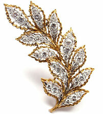 Rare! Vintage Authentic Mario Buccellati 18k Yellow Gold Diamond Leaf Pin Brooch