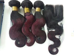 1b#/99j OMBRE BRAZILIAN VIRGIN HUMAN HAIR BODY WAVE BUNDLES 12+12+12&12 CLOSURE