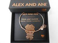 Alex and Ani Four Leaf Clover IV Bangle Bracelet ROSE GOLD New Tag Box Card
