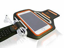 "Universal Smartphone 5.5"" Orange Lycra Armband Sports Reflective Headphone Tie"