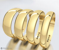 Yellow Gold Wedding Rings 9ct D-Shaped Band Full Hallmark Half sizes Available