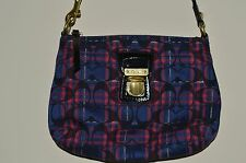 Coach Bag Purse Messenger Crossbody Plaid Print Pink Silver Signature Navy Blue