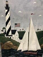 "Warren Kimble Sailboat Coastal Breeze Lighthouse Throw Blanket Tapestry 68 x 48"""