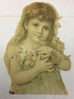 "Vintage Large Trade Card Little Girl Flowers Scrapbooking 9 1/4"" x 12 5/8"""