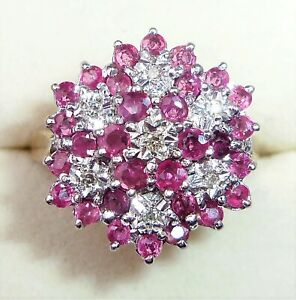 Large 9ct Gold Ruby & Diamond Flower Ring, Size Q