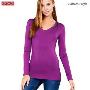 New Women's Long Sleeve V Neck Cotton Jersey Top T Shirt S M L 1XL 2XL 3XL Plus