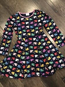 HANNA ANDERSSON Colorful Swan Print Dress Size 140 9 10 11 year