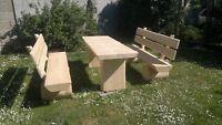 Sitzgarnitur Gartenmöbel Sitzgruppe massiv aus Holz