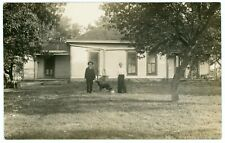 RPPC - Dog with Man & Lady & Tiny Kitten in Front of Their House - C. 1910