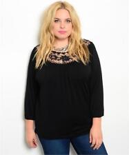 NEW..Stylish Plus Size Black Top with Crochet Lace Neckline..Sz16/1XL