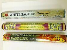 Fast Luck Good Fortune White Sage 60 Hem Incense Sticks 3 Scent Sampler Gift Set