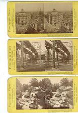 Lot of 3 WM. Chase Stereoviews- Bowery NY Railway, Western Union NY City View