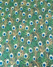 Peacock feather Pima cotton lawn print fabric