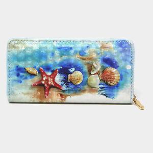 NEW~ Seashells Star Fish Ocean Beach Theme Holographic Zippered Clutch Wallet