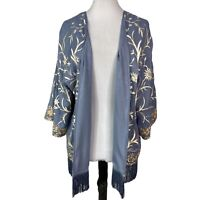Soft Surroundings Women's Hidden Garden Fringe Top Blue Cream Embroidered Kimono