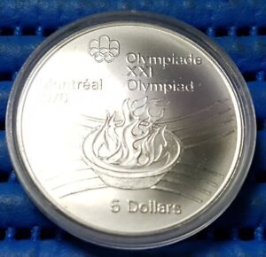 1976 Canada Montreal XXI Olympiad Olympic Flame Commemorative $5 Silver Coin
