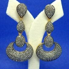 Antique 925 Sterling Silver Natural Diamonds Victorian Earrings Silver Jewelry