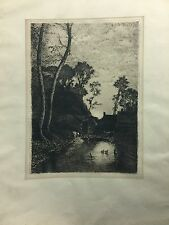 Emile  BRETON (1831-1902) French Barbizon old master original etching