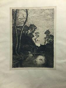 Emile  BRETON (1831-1902) French Barbizon old master original etching
