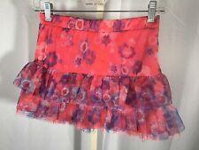 EUC Justice Pink Purple Flower Ruffle Tulle Skirt Size 12