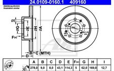 ATE Juego de 2 discos freno 278mm Para SUZUKI SWIFT 24.0109-0160.1
