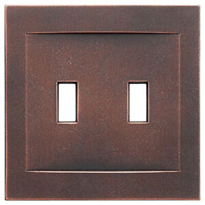 Oil Rubbed Bronze Double Toggle Light Switch Wallplate NO VISIBLE SCREWS USA