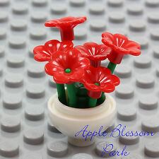 NEW Lego Friends Minifig WHITE FLOWER POT w/Red Pansy Flowers Green Plant Stems