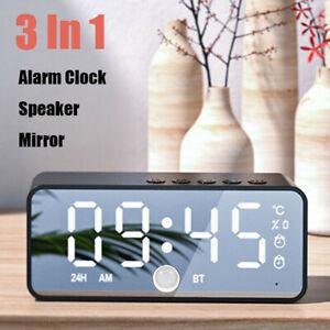 LED Mirror Digital Alarm Clock Wireless Bluetooth Speaker MP3 FM Radio W/ Sensor